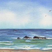 Seascape With Three Rocks Poster