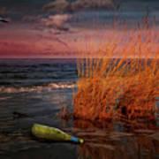 Seaside Bottle At Sunset Poster