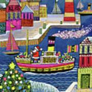 Seaside Santa Poster