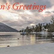 Season's Greetings- Cabin On The Lake Poster