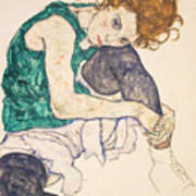 Seated Woman With Legs Drawn Up Poster