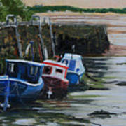 Seaton Sluice Harbour At Low Tide. Poster