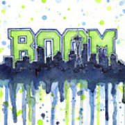 Seattle 12th Man Legion Of Boom Watercolor Poster