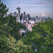 Seattle And Mt. Rainier Vertical Poster