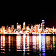 Seattle At Night - From Alki Beach Poster