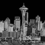 Seattle Black And White Poster