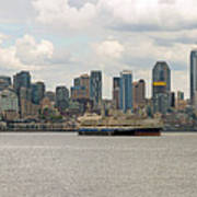 Seattle City Skyline Along Elliott Bay Poster