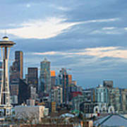 Seattle City Skyline At Dusk Panorama Poster