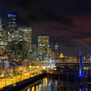 Seattle Skyline By The Pier Poster