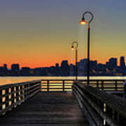 Seattle Skyline From The Alki Beach Seacrest Park Poster by David Gn Photography