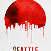 Seattle Skyline Red Poster