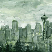 Seattle Skyline Watercolor Space Needle Poster