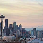 Seattle Skyline With Mount Rainier During Sunrise Panorama Poster
