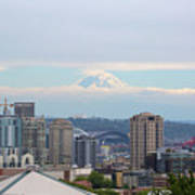 Seattle Skyline With Mt Rainier In Clouds Poster