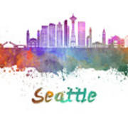 Seattle V2 Skyline In Watercolor Poster