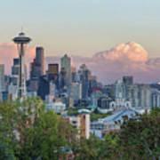 Seattle Washington City Skyline At Sunset Poster