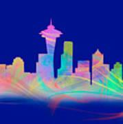 Seatttle Skyline Rainbow Watercolor Poster