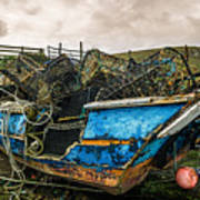 An Old Boat Turned In A Fyke Storage Place. Second Life.i Found This Near The Sea In Uig, Scotland. Poster