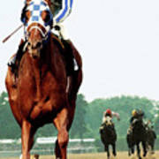 Secretariat Winning The Belmont Stakes, Jockey Ron Turcotte Looking Back, 1973 Poster