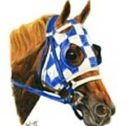 Secretariat With Blinkers Poster by Pat DeLong