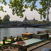 Seine Barges In Paris In Spring Poster