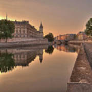 Seine River In Morning, Paris Poster