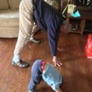 Self Portrait 8 - Downward Dog With Grandson Max On His 2nd Birthday Poster