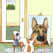 Self Portrait, German Shepherd Poster