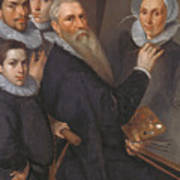 Self Portrait Of The Painter And His Family Poster