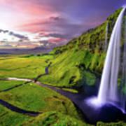 Seljalandsfoss Waterfall Poster