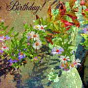 September Birthday Aster Poster