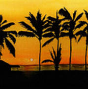 Setting Sun In The Tropics Poster