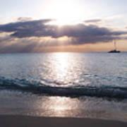 Seven Mile Beach Catamaran Sunset Grand Cayman Island Caribbean Poster by Shawn O'Brien