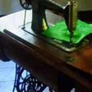 Sewing Machine With Green Cloth Poster