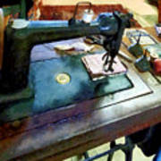 Sewing Machine With Sissors Poster