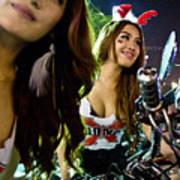 Sexy Bunny Models At A Motorycle Rally In Bangkok Thailand Poster