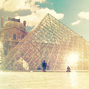 Shabby Chic Louvre Museum Paris Poster