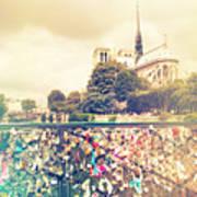 Shabby Chic Love Locks Near Notre Dame Paris Poster