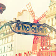 Shabby Chic Moulin Rouge Metro Sign Paris Poster