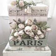 Paris Shabby Chic Pastel Paris Books Roses - Paris Shabby Cottage Watercolor Roses Poster