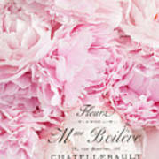 Shabby Chic Pink Pastel Peonies French Script - Paris Pink Peonies Baby Girl Nursery Decor Poster