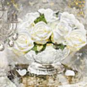 Shabby White Roses With Gold Glitter Poster