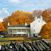 Shaker House And Stone Fence Poster