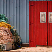 Shed Doors And Tangled Nets Poster by Louise Heusinkveld