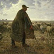 Shepherd Tending His Flock Poster