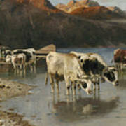Shepherd With Cows On The Lake Shore Poster