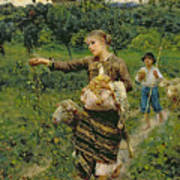 Shepherdess Carrying A Bunch Of Grapes Poster