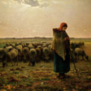 Shepherdess With Her Flock Poster by Jean Francois Millet