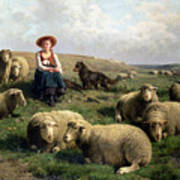Shepherdess With Sheep In A Landscape Poster by C Leemputten and T Gerard