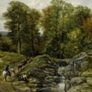 Shepherds Next To A Brook By Thomas Creswick Poster